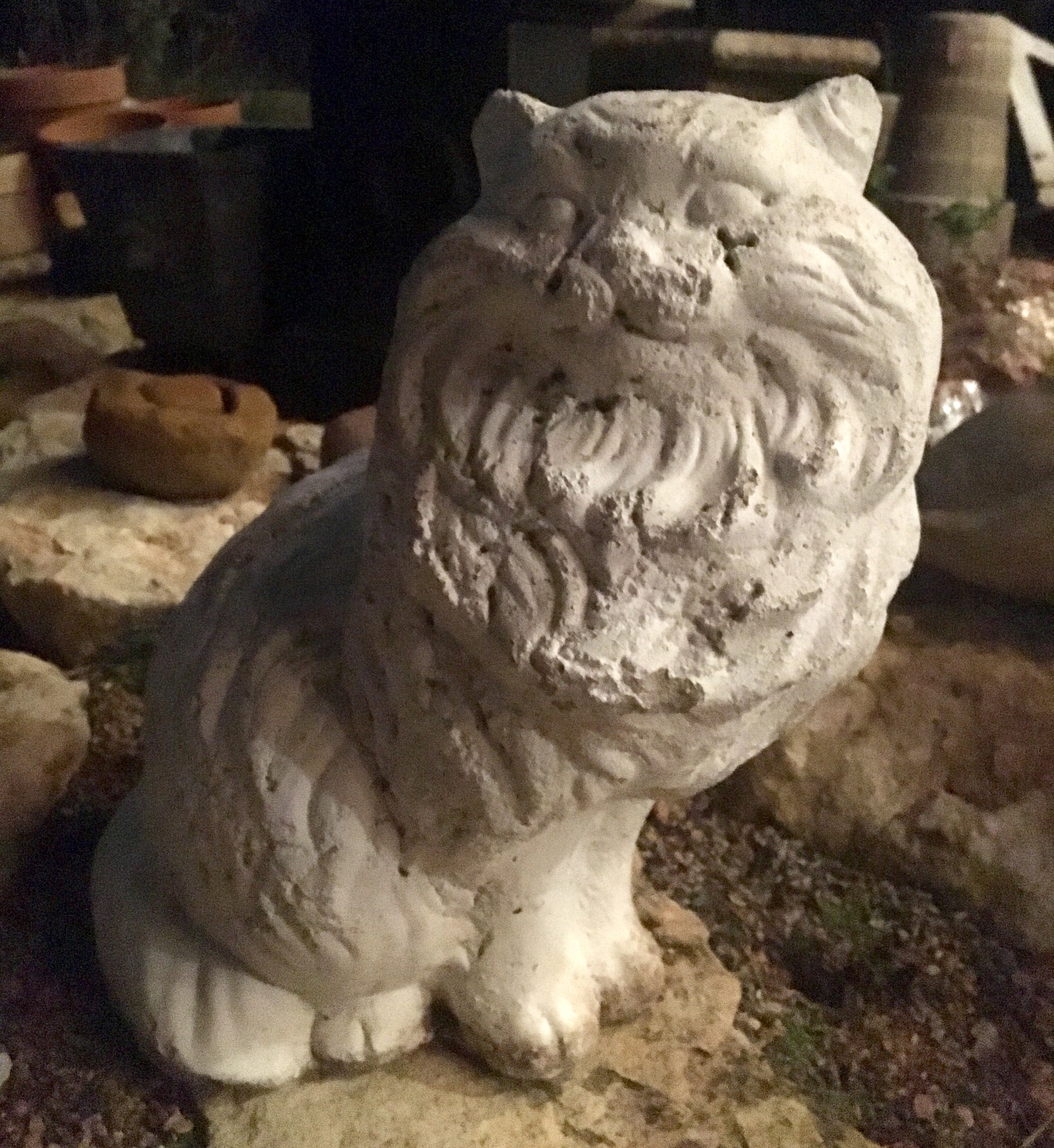 Heavy White Concrete Long-Haired Cat Statue