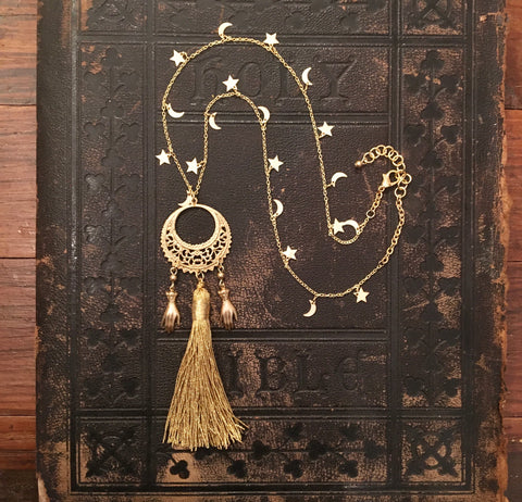 Hand and Moon Tassel Necklace