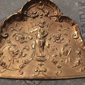 Antique Brass Crumb Pan with Cherub Relief