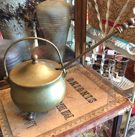 Vintage Brass Footed Fire Starter Cauldron with Lid and Wand