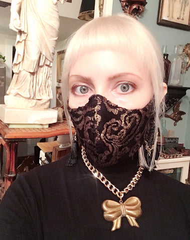 Gold and Black Lace Damask Reusable Fabric Face Mask