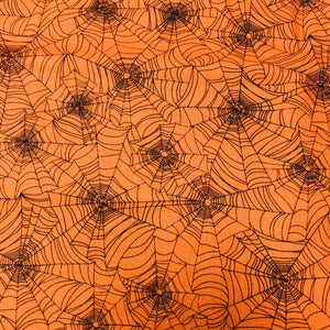 Reusable Fabric Face Mask Orange Spider Web
