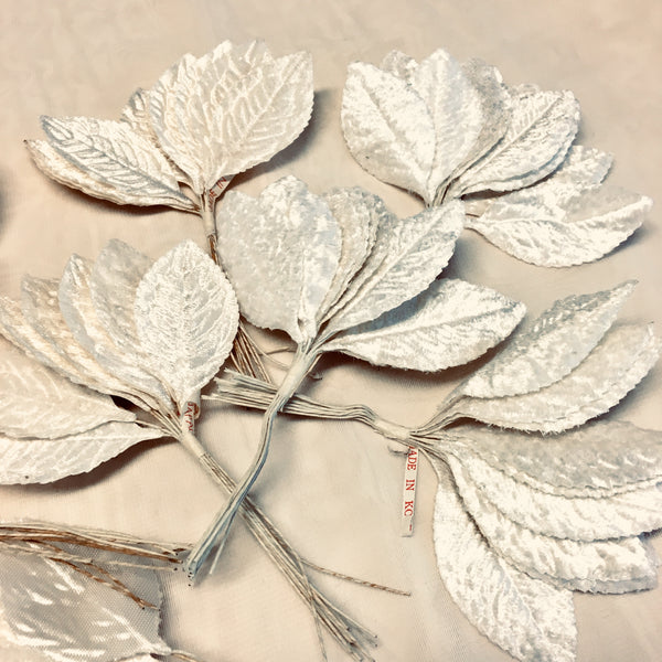 Vintage Wedding Millinery Velvet Leaf Sprigs in Off White Lot of 90