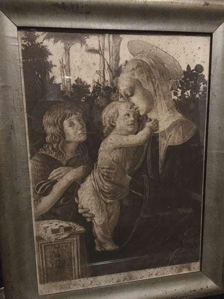 Antique Print of Botticelli's Virgin and Child with Young St John the Baptist