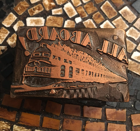 All Aboard Antique Train Stamp Print Block