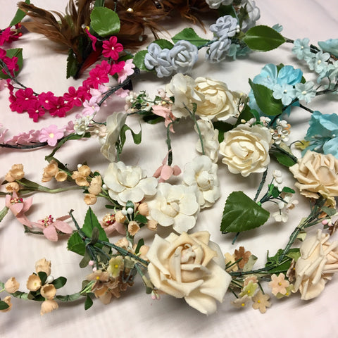 Vintage Lot of 11 Wedding Veil Head Garlands from 1920's to 1960's Millinery Hat Flowers