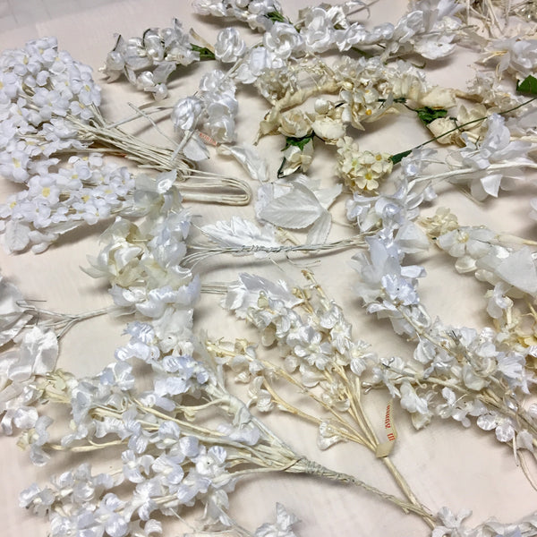 Vintage Wedding Veil 1920's to 1960's Millinery Hat Flowers in Whites and Creams Lot B