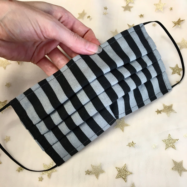 Reusable Fabric Face Mask Grey Stripes