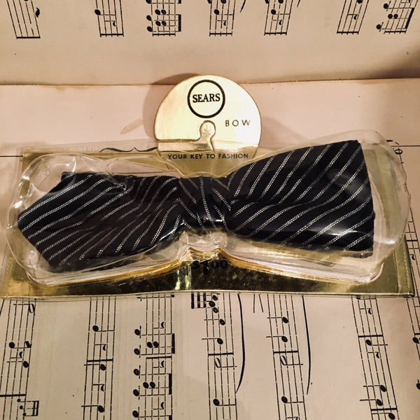 Vintage Sears New Old Stock Clip-on Bow Tie Pin Stripe