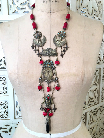 Egyptian Revival Necklace with Antique Brass Accents and Cherry Red Glass Czech Beads