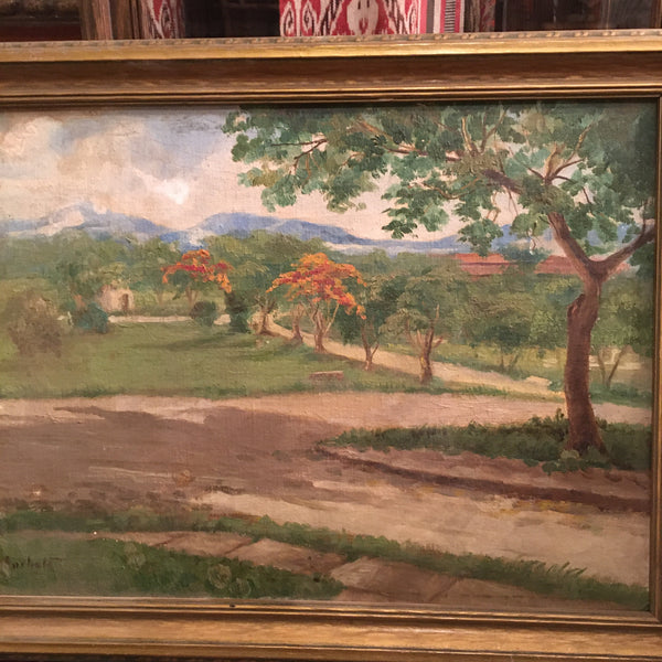 Vintage Hill Country Still Life Oil Painting