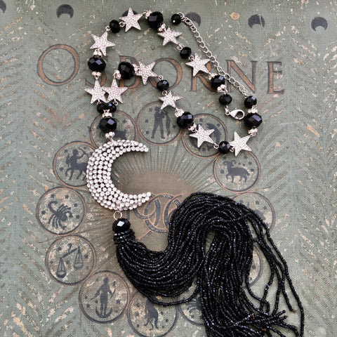 Celestial Luna Moon and Stars Rhinestone Beaded Tassel Necklace