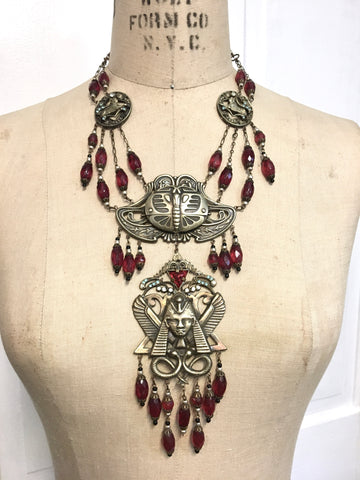 Czech Glass Egyptian Art Deco Necklace with Antique Brass findings