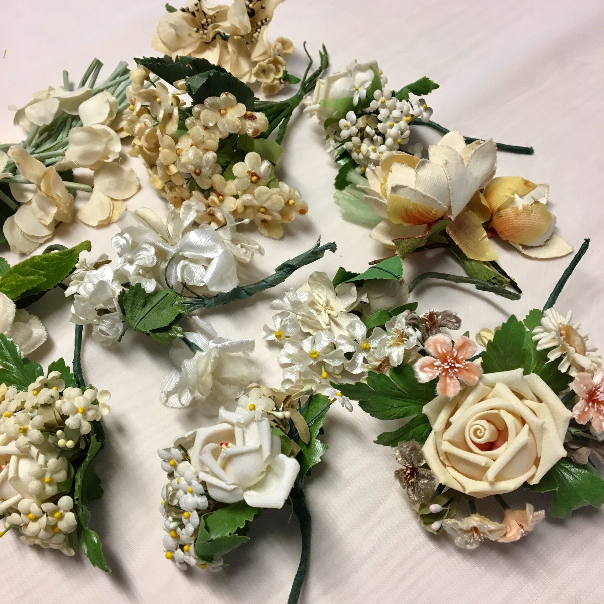 Vintage Wedding Flowers and Corsages from 1920's to 1960's Millinery Hat Flowers in Whites Creams Lot E