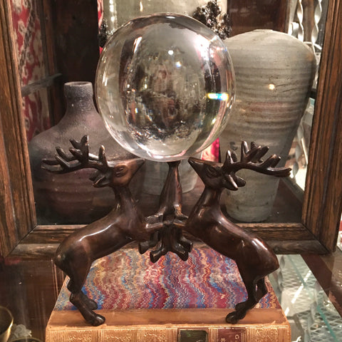 "Triple Stag Holder with 4"" Glass Orb"