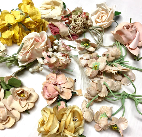 Vintage Wedding Veil 1920's to 1960's Millinery Hat Flowers in Mustard Pink and Cream Lot F