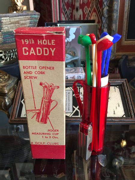 Mid-Century 19th Hole Caddy Bar Set