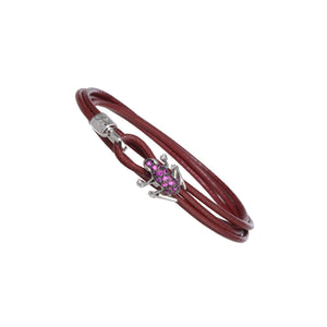18K White Gold and Ruby Leather bracelet