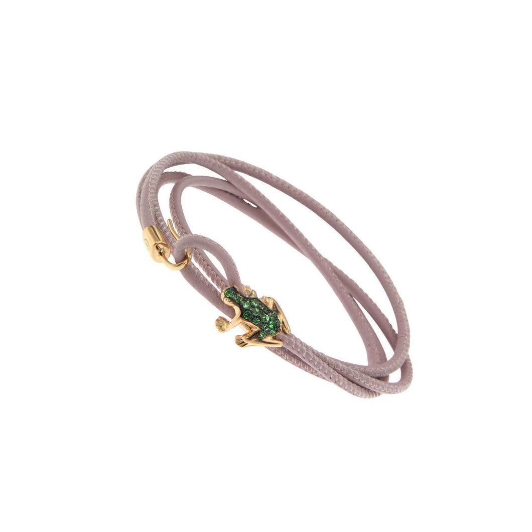 18K Rose Gold and Tsavorite Leather bracelet