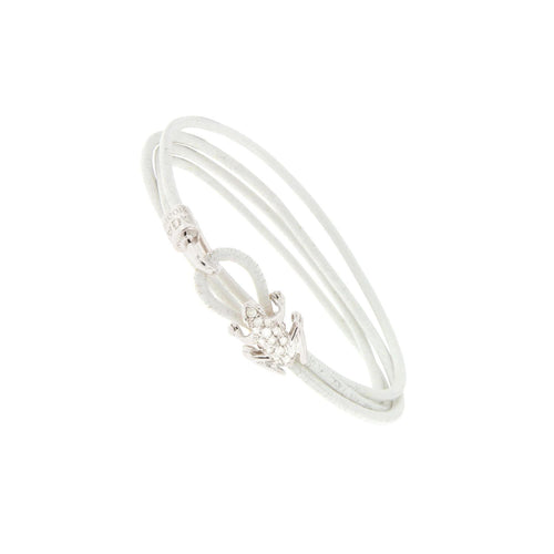 18K White Gold and White Diamond Leather bracelet