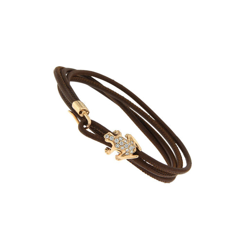18K Rose Gold and White Diamond Leather bracelet