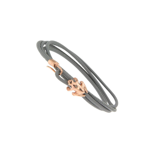 9K Rose Gold and Champagne Diamond Leather bracelet