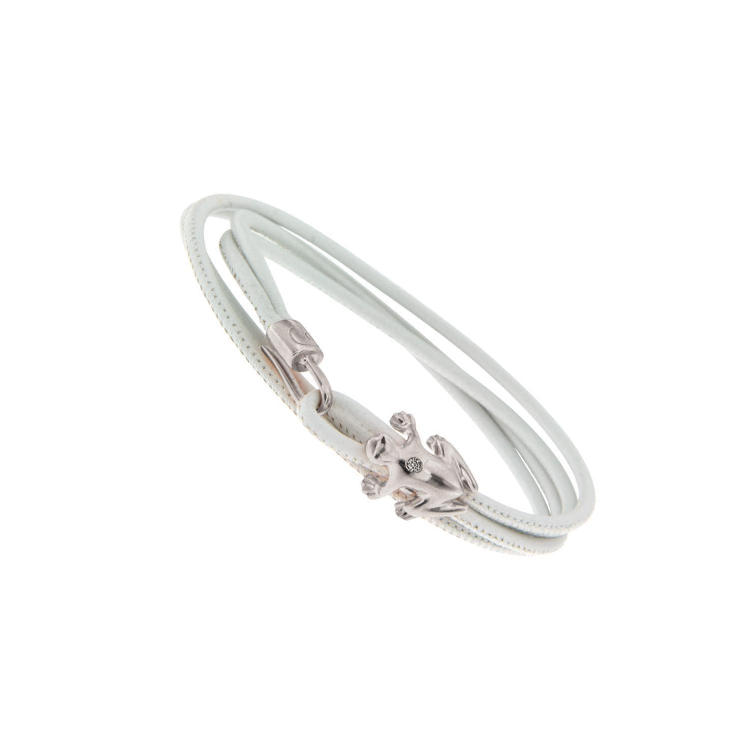 Silver and Champagne Diamond Leather bracelet