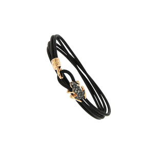 18K Rose Gold and Black Diamond Leather bracelet