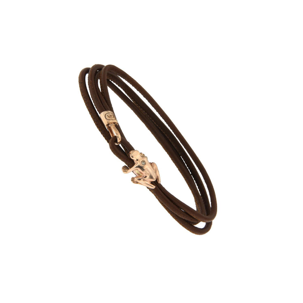 18K Rose Gold and Champagne Diamond Leather bracelet