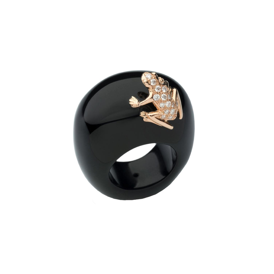Happy Frog, Natural Stone ring with 18K Rose Gold and White Diamond Frog