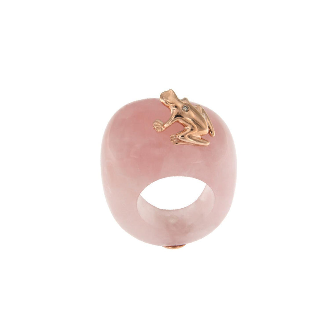 Natural Stone ring with 9K Rose Gold and Champagne Diamond Frog