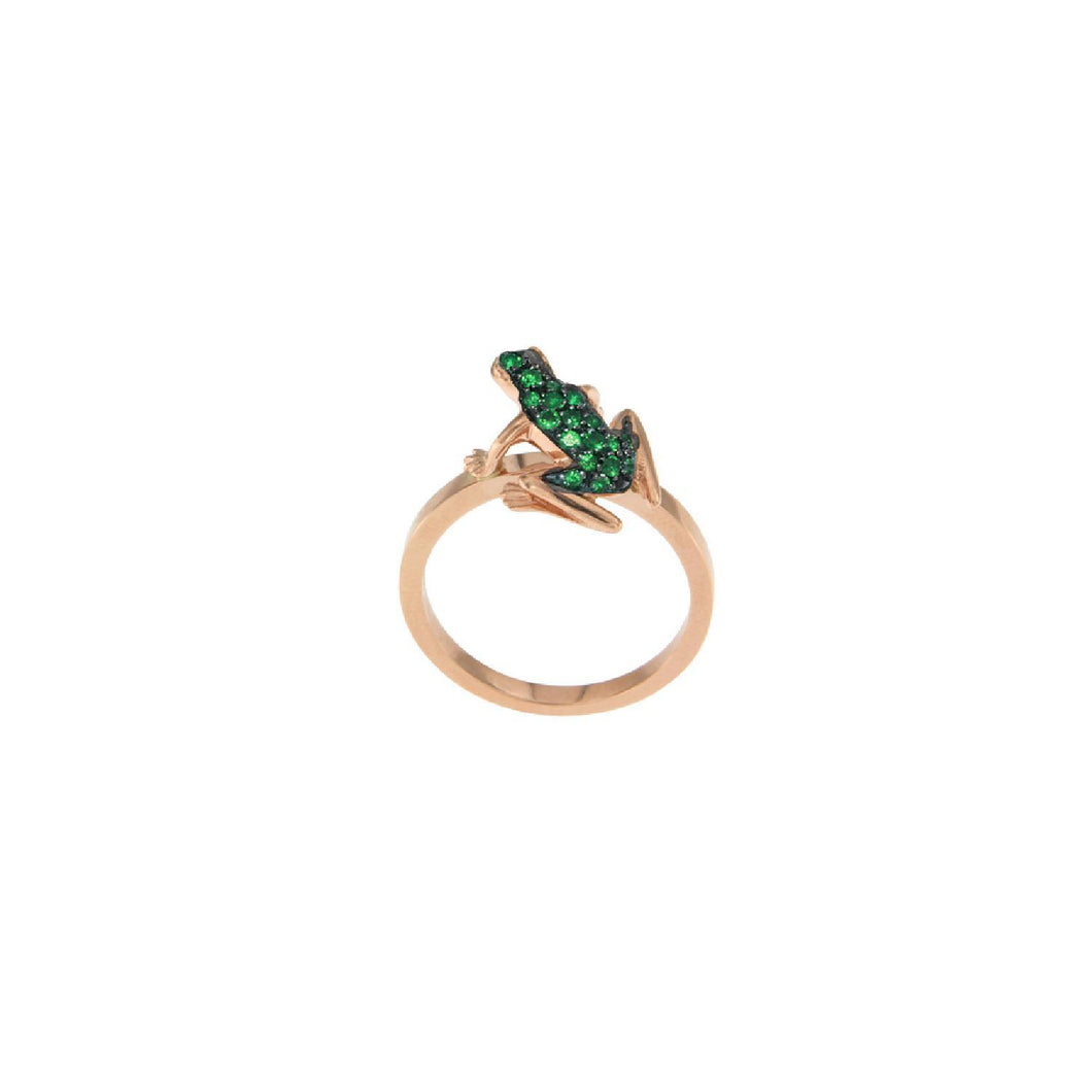 18K Rose Gold Kissing Frog ring