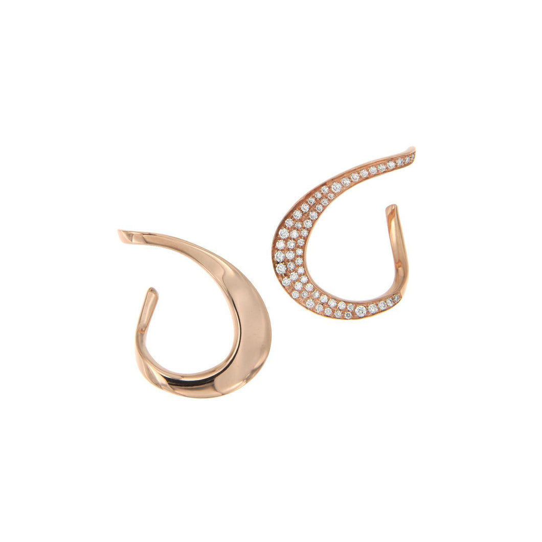18K Rose Gold and White Diamond Earring