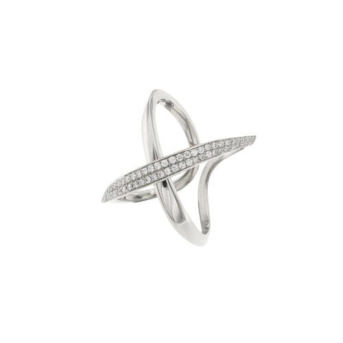 18K Diamond Cross Ring