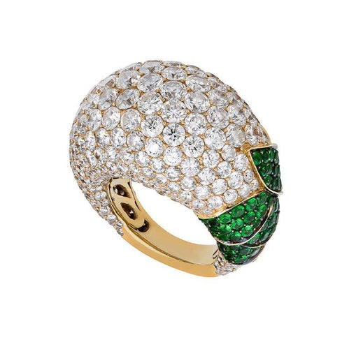 18K White Diamond Ring With Emeralds
