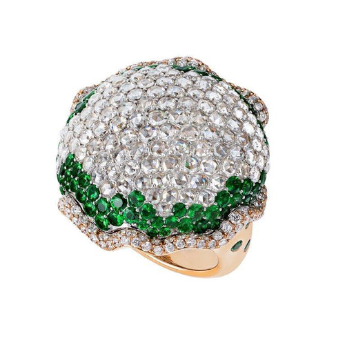 18K Tsavorite Ring With White Diamonds