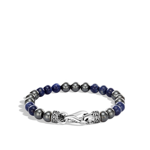 ASLI CLASSIC CHAIN LINK BEAD BRACELET, SODALITE AND HEMATITE