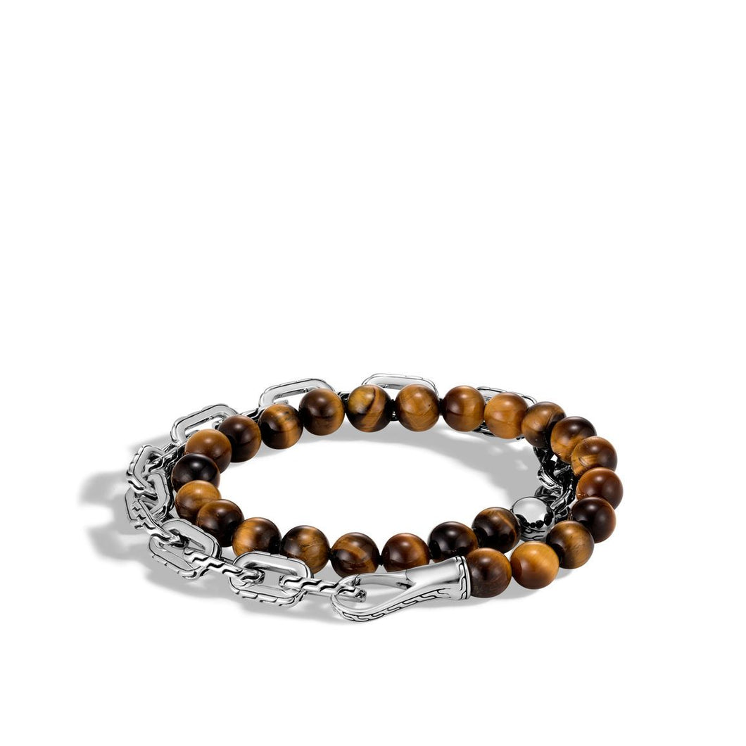 CLASSIC CHAIN WRAP BRACELET WITH TIGER EYE
