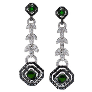 18K Emerald Earrings With Yellow And White Diamonds