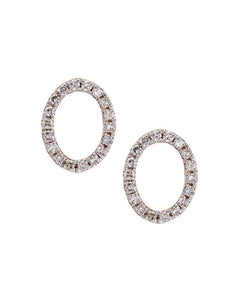 O Initial Stud Diamond Earrings