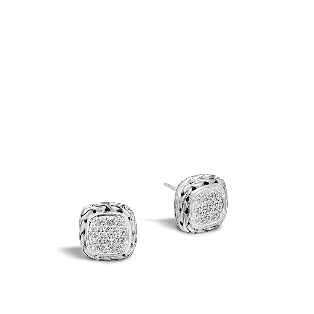 CLASSIC CHAIN STUD EARRING WITH DIAMONDS