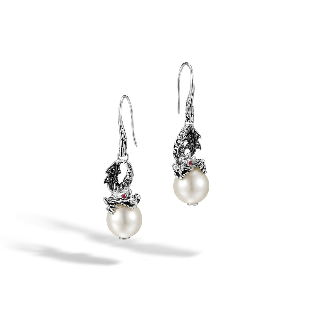 NAGA DROP EARRINGS WITH PEARL AND BLACK SAPPHIRE
