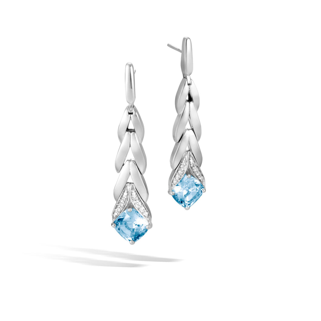 MAGIC CUT DROP EARRING WITH BLUE TOPAZ AND DIAMONDS