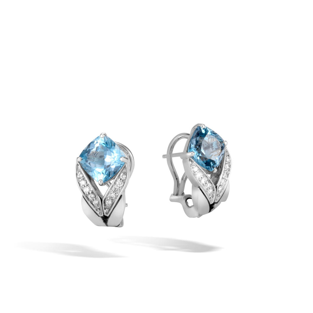 MAGIC CUT EARRING WITH BLUE TOPAZ AND DIAMONDS