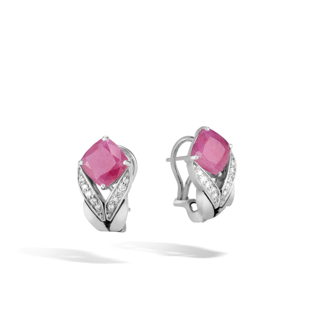 MAGIC CUT EARRING WITH PINK SHEEN SAPPHIRE AND DIAMONDS