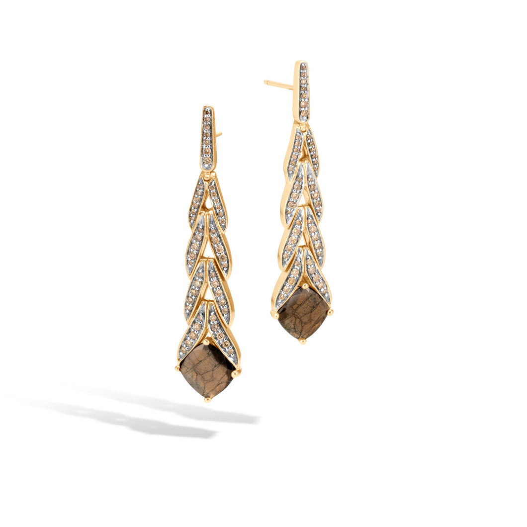 MAGIC CUT DROP EARRING, GOLDEN SHEEN SAPPHIRE, CHAMPAGNE DIAMOND