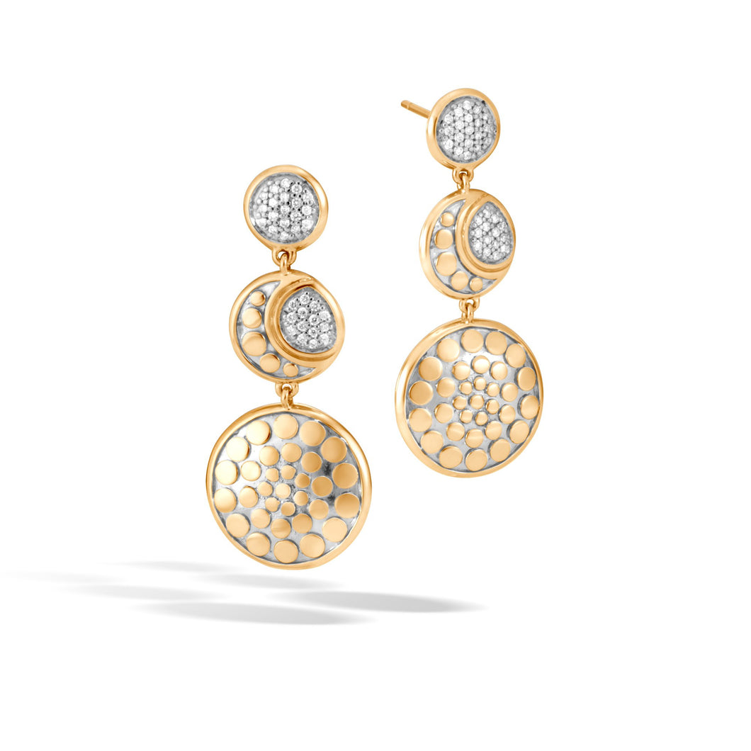 MOON PHASE DROP EARRING WITH DIAMONDS