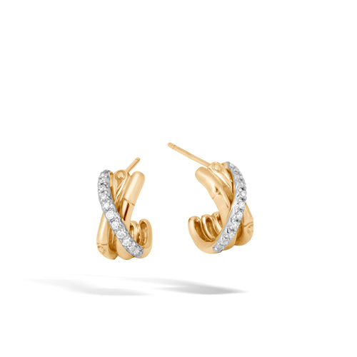 J HOOP EARRING WITH DIAMONDS