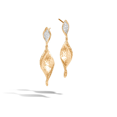 WAVE HAMMERED DROP EARRING WITH DIAMONDS