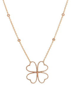 4 Heart Flower Diamond Station Chain Diamond Necklace